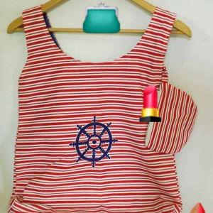 Χειροποίητη Τσάντα Από Vintage navy Ύφασμα Πειραϊκής Πατραϊκής
