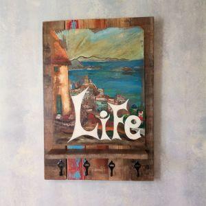Ραφι κρεμαστρα τοίχου με πίνακα ζωγραφικης