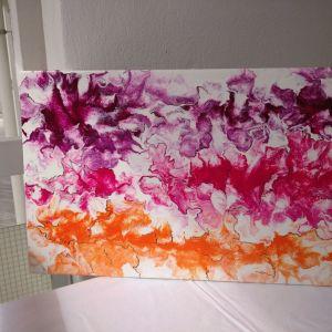 Λουλουδοπτασια. Πινακας ζωγραφικης σε τελαρο. 40/60εκ.Περασμενος με βερνικι. Αυθεντικος.