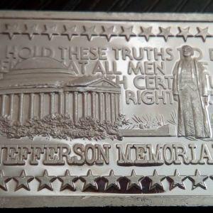 1975 Hamilton Mint Jefferson Memorial Silver Bar .999 *RARE*