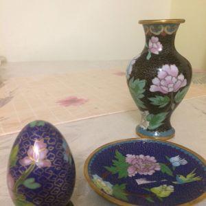 Σετ   Βάζο   διακοσμητικό,   πιατάκι   και   αυγό   ζωγραφισμένο