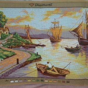 Λιμανάκι με πλοία τυπωμένος πίνακας σε καμβά για κέντημα