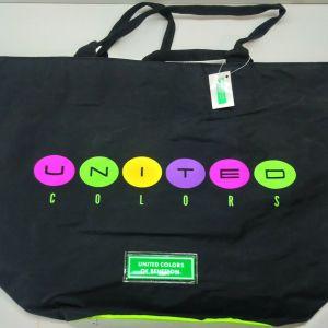 VINTAGE 90's UNITED COLORS OF BENETTON SCHOOL BAG UNITED COLORS BLACK GREEN
