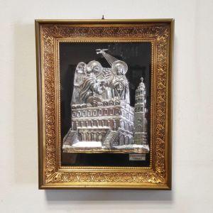 """Ασημένια εικόνα """"Ευαγγελισμός Τήνου"""", σε χρυσή κορνίζα"""