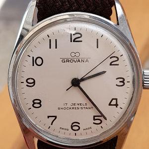 παλιό κουρδιστό ελβετικό ανδρικό ρολόι GROVANA λειτουργικό σε άριστη κατάσταση