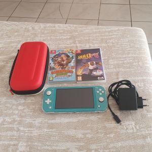Nintendo switch lite με 2 παιχνιδια,θηκη ποκεμον,τζαμακι προστασιας οθονης,θηκη διαφανη και γνησιο φορτιστη σε αριστη κατασταση