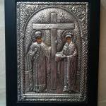Ασημένια εικόνα Αγ. Κωνσταντίνου και Ελένης, αντίγραφο Βυζαντινής, 17Χ23