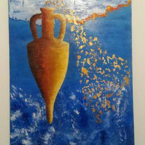 Μοντέρνος πίνακας λάδι σε καμβά 60 x 80 εκ. με φύλλο χρυσού. Σύγχρονη ελληνική τέχνη. Ενυπόγραφο