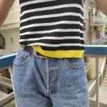 ριγε μπλουζακι με κιτρινη λεπτομερεια zara