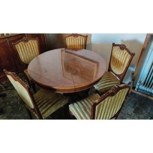 τραπεζαρια -τραπεζι ροτοντα  και 6 καρεκλες