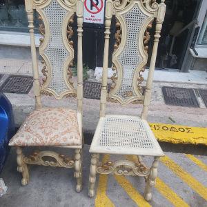 2 καρέκλες με ψάθα