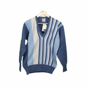 Vintage ανδρικό πουλόβερ μπλε γκρι σιελ κάθετες ρίγες 1980s