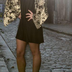 Nidodileda Vintage Ολόσωμη φόρμα μαύρη Jumpsuit με δανδέλα μανίκια, ξώπλατη