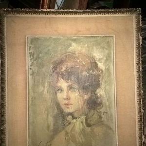 Λαδι πορτραιτο . Αντικα καδρο μαλλον πριν 1900