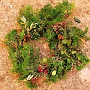 Στεφάνι όλων των εποχών, Χειροποίητο με φρέσκα κλαδιά από αειθαλή δέντρα Natural Fresh Evergreen Wreath
