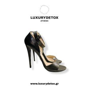 Prada - Black Leather Heels - Sandals.