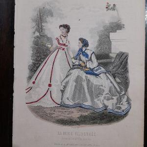 Γκραβουρα εγχρωμη  1866 la mode illustree