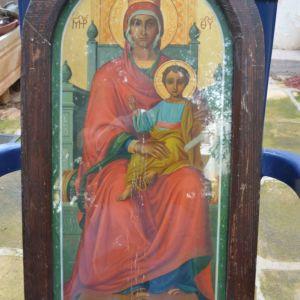 Συλλεκτική εικόνα Παναγία Μήτηρ Θεού 1949 Απόστολος Φιλίππου 60 cm X 33 cm