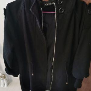 Γυναικειο παλτό μαύρο με ενσωματωμένη κουκούλα