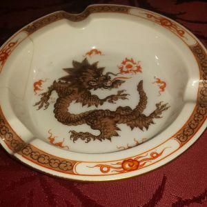 Meissen antique ming red dragon τασάκι
