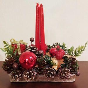 Χριστουγεννιάτικο χειροποίητο επιτραπέζιο διακοσμητικό με διπλά κεριά