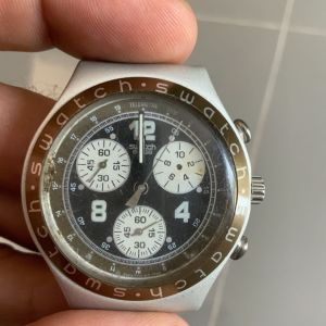 Swatch Irony Chrono Aluminium YCS1004 MENGEDENGA vintage swiss quartz watch ρολόι χειρός χρονογράφος