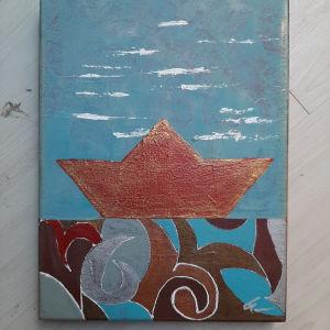 Χειροποίητος πίνακας καράβι