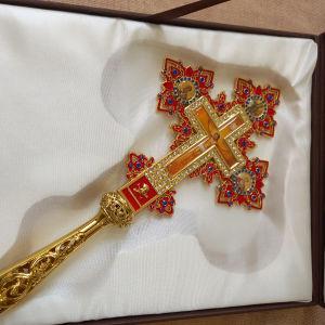 Σταυρός Ευλογιας με σμάλτο και εικόνες 30×15 εκ