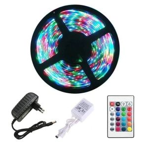 Αδιάβροχη αυτοκόλλητη ταινία LED RGB 3528 SMD 5m με χειριστήριο και τροφοδοτικό 12V3A