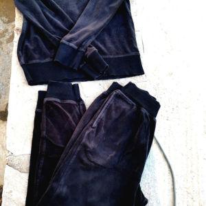 Αντρική Βελουτέ Φόρμα Μπλούζα-Παντελόνι Μαύρη