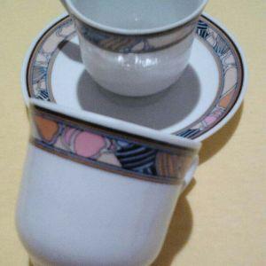 Φλιτζάνια καφέ 5 με τα πιατακια τους πορσελανη Fena porcelain vintage για ελληνικο ή εσπρεσσο