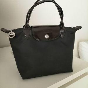 Τσάντα Longchamp le Pliage σκούρο καφέ αυθεντική