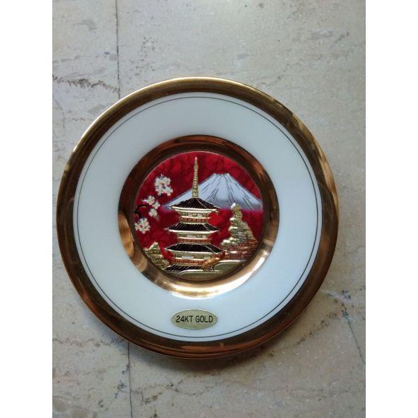 diakosmitiko piataki, porselanino, CHOKIN Japan, 24k Gold