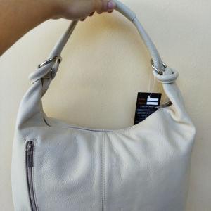 Ιταλική Δερμάτινη τσάντα μπεζ