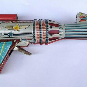 Vintage Διαστημικό Τσίγκινο Πιστολάκι Astra Lyra Παιχνίδι Δεκαετίας 1960