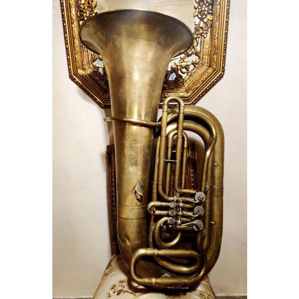 sillektiki toumpa mpasso dek. 1930-1940;, me kilindrous, rossiki ii d No 188 / 4200 P, Tuba Bb, mousiko chalkino pnefsto organo, diakosmisi retro antika spanio filarmoniki trompeta tromponi ntekor