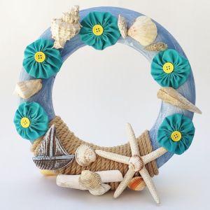 Χειροποίητο Στεφάνι με Κοχύλια, Καραβάκι και Λουλούδια
