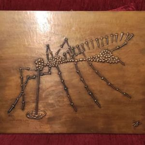 Πίνακας από ξύλο και μπρούντζο