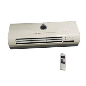 Αερόθερμο τοίχου τύπου κλιματιστικού με τηλεχειριστήριο χρήση και σαν ανεμιστήρας με οθόνη θερμοκρασίας