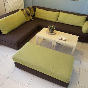 Καναπές γωνία με σκαμπό 2θέσιο