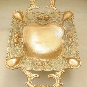 Φοντιανιέρα επάργρυρη  σε χρυσό χρώμα, σκαλιστή, χειροποίητη, και σταχτοδοχείο χειροποίητο, σπάνιο κομμάτι, σκαλιστό σε χρυσό χρώμα.