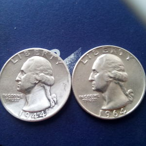 1/4 dollar1944 and 1964ασημι