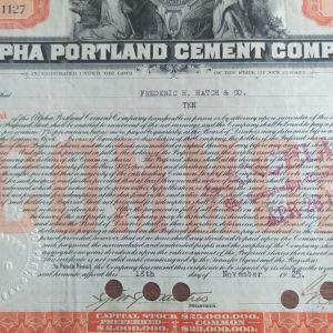 1925 Αμερική, τίτλος 10 μετοχών εταιρείας τσιμεντου