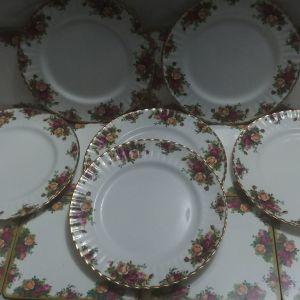"""Πιάτα φαγητού 6 τμ 27 εκ Royal Albert """"old contry roses"""" bone china England 1993-2002"""