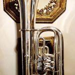 Συλλεκτική Τούμπα Μπάσσο δεκ. 1990 - 2000;, με κύλινδρους, γερμανική επωνυμίας Miraphone Tuba Εb, μουσικό χάλκινο πνευστό όργανο, διακόσμηση ρετρό αντίκα σπάνιο φιλαρμονική τρομπέτα τρομπόνι ντεκόρ