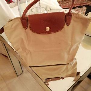 Τσάντα μπεζ αυθεντική Longchamp