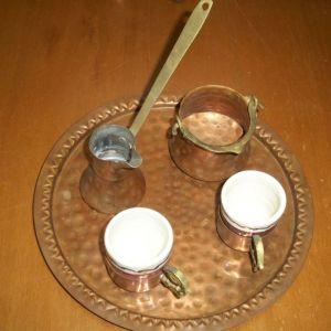 Χάλκινο σετ για ελληνικό καφέ