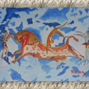Bull-Leaping: Πίνακας ζωγραφικής με ακρυλικά χρώματα σε καμβά