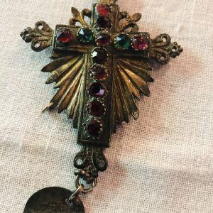 παλιος σταυρος αντικα ασημένιος επίχρυσος με αλυσιδα
