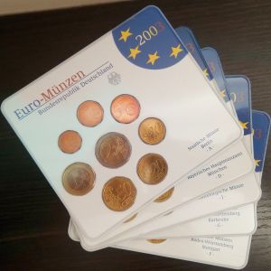 German Mint Euro 5 Χ Coin Set from 2003 G.A.D.I.F.